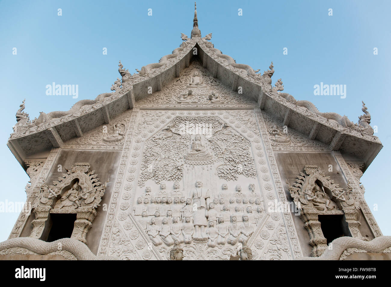 Relief at the bot of the Wat Huay Pla Kang temple, Buddhist frescoes, Chiang Rai Province, Northern Thailand, Thailand - Stock Image
