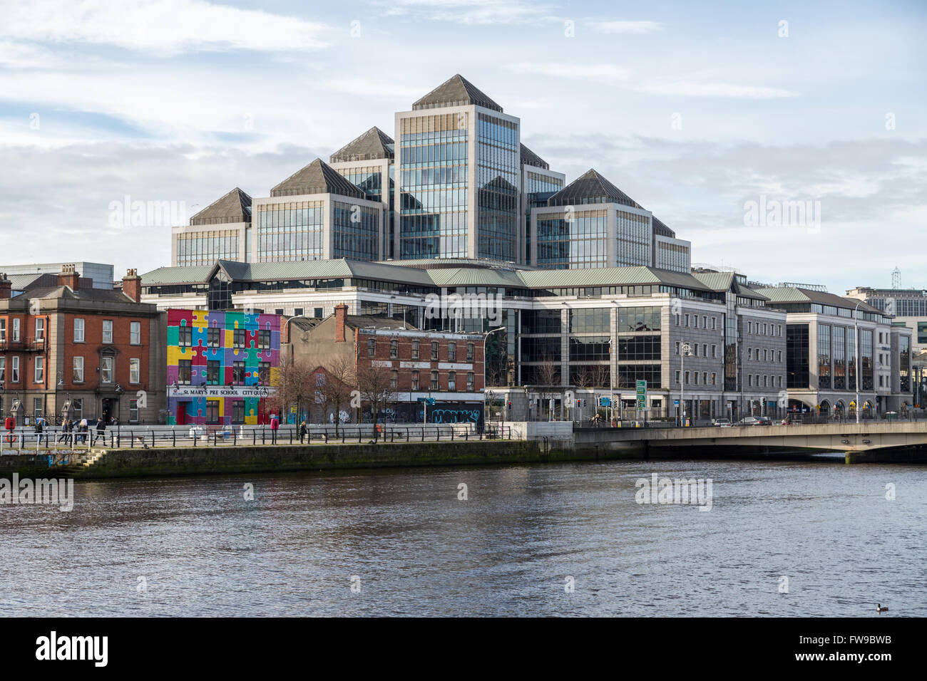 George's Quay Plaza on the Liffey bank, Dublin, Ireland - Stock Image