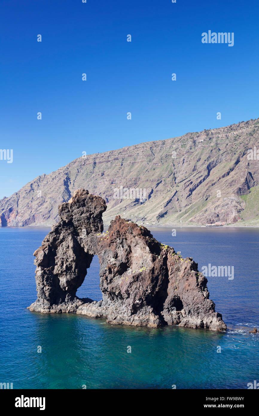 Las Playas Bay with the rock arch Roque de Bonanza, El Hierro, Canary Islands, Spain Stock Photo