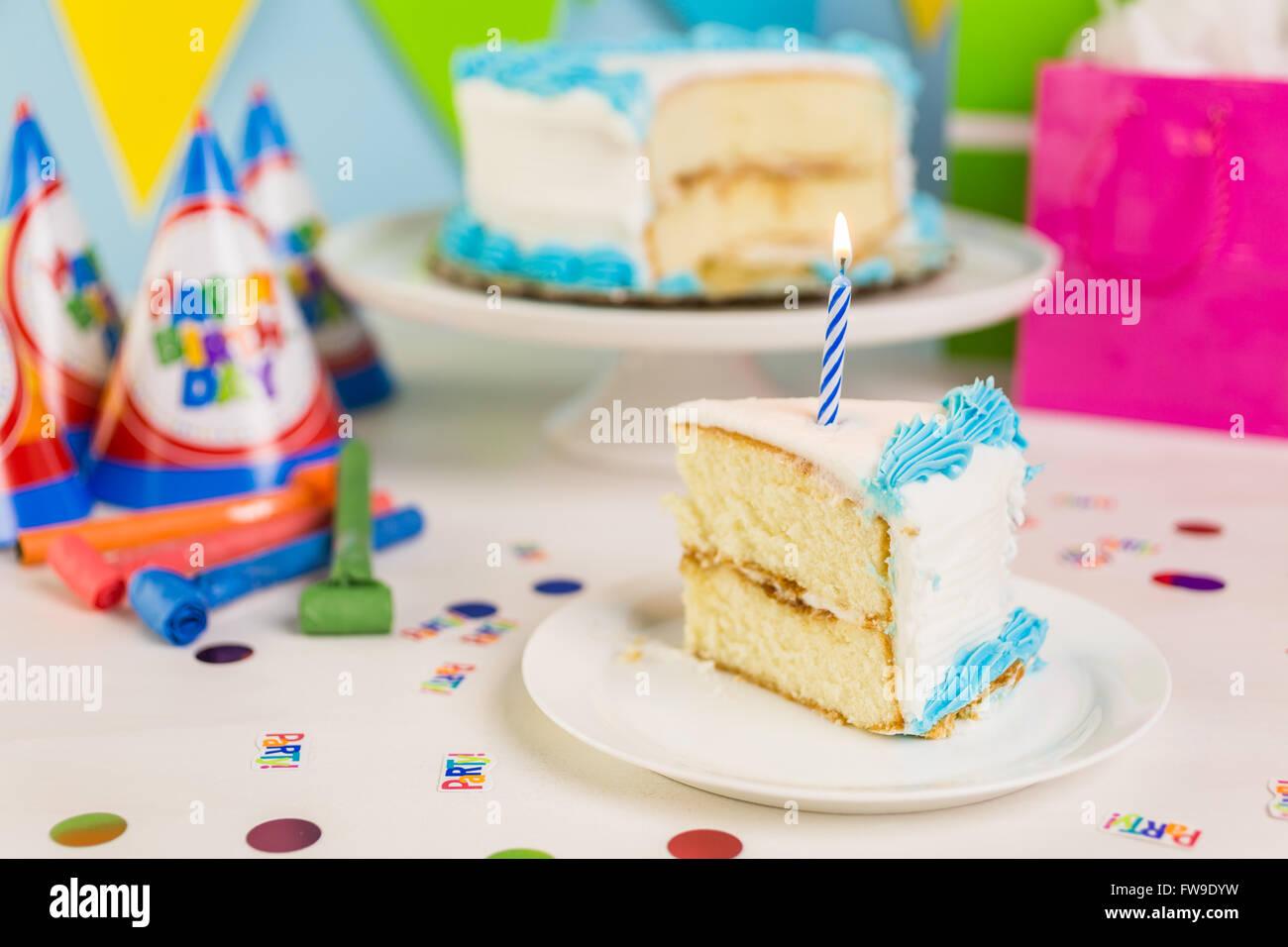 Simple White Birthday Cake Slice Stock Photos Simple White