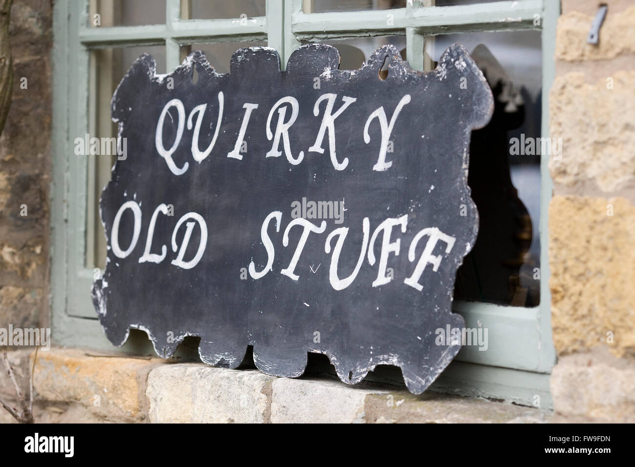 Vintage shop sign, Stow on the Wold. Stock Photo