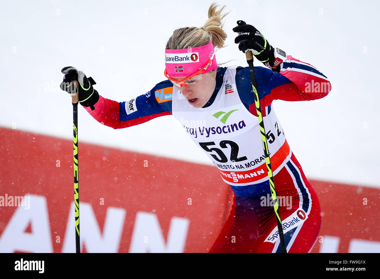 Nove Mesto na Morave, Czech Republic - January 23, 2016: FIS Cross Country World Cup, women 10km. HAGA Ragnhild - Stock Image