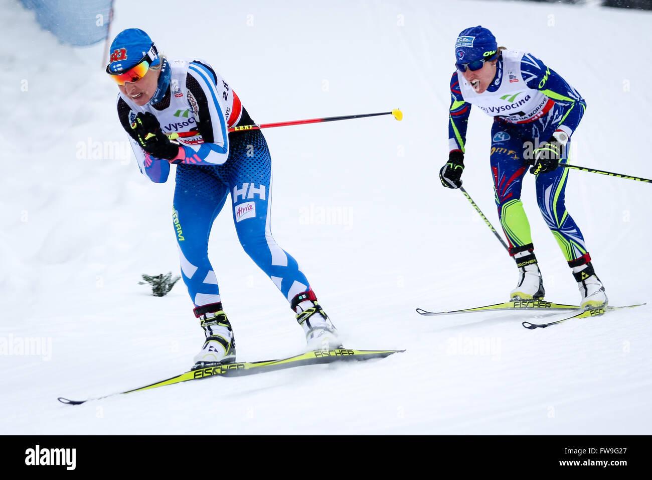 Nove Mesto na Morave, Czech Republic - January 23, 2016: FIS Cross Country World Cup, women 10km. - Stock Image