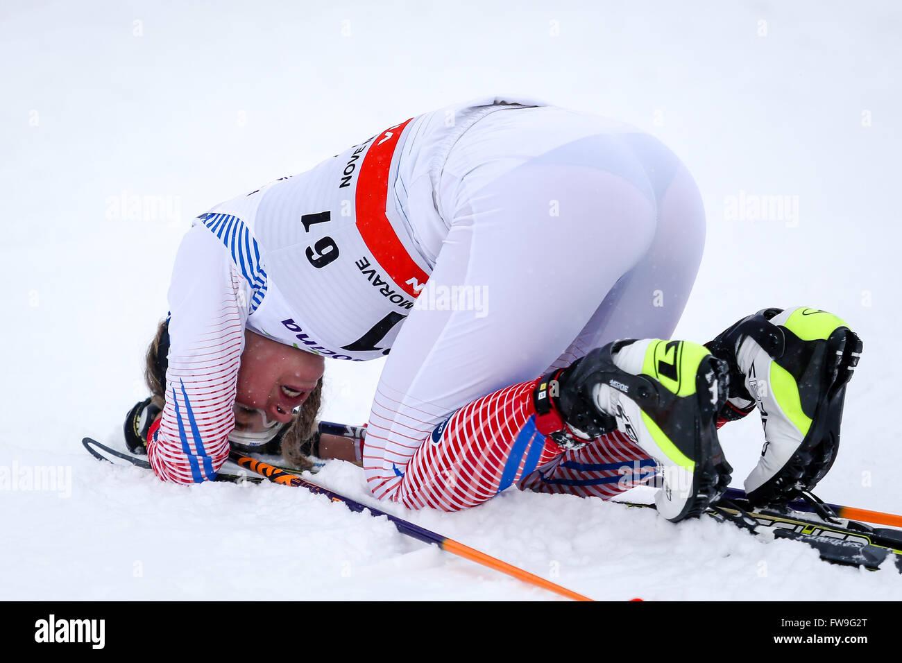 Nove Mesto na Morave, Czech Republic - January 23, 2016: FIS Cross Country World Cup, women 10km. KLEMENTOVA Andrea - Stock Image