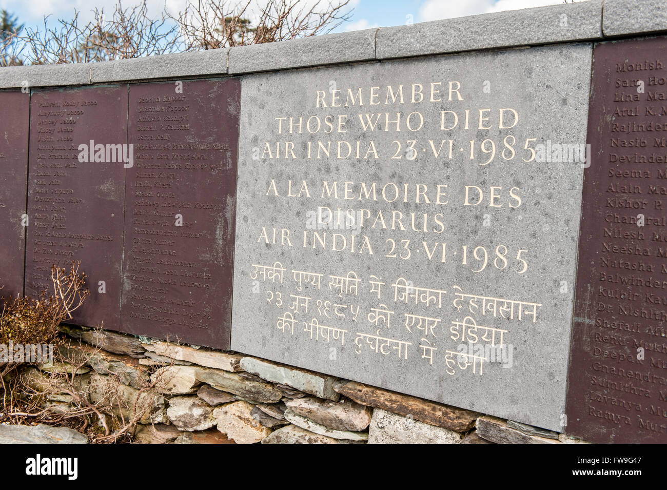Memorial commemorating the1985 Air India disaster, caused by a terrorist bomb, over Ahakista, West Cork, Ireland. - Stock Image