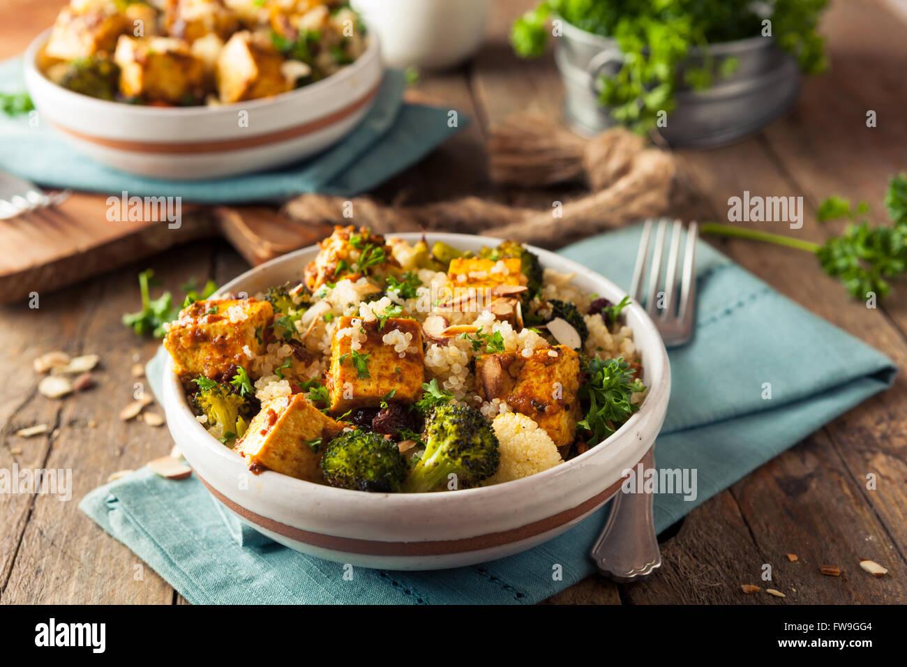 Homemade Quinoa Tofu Bowl with Roasted Veggies and Herbs - Stock Image
