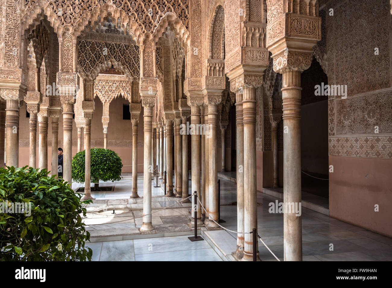 Moresque ornaments in court of lion from Alhambra Islamic Royal Palace, Granada, Spain - Stock Image