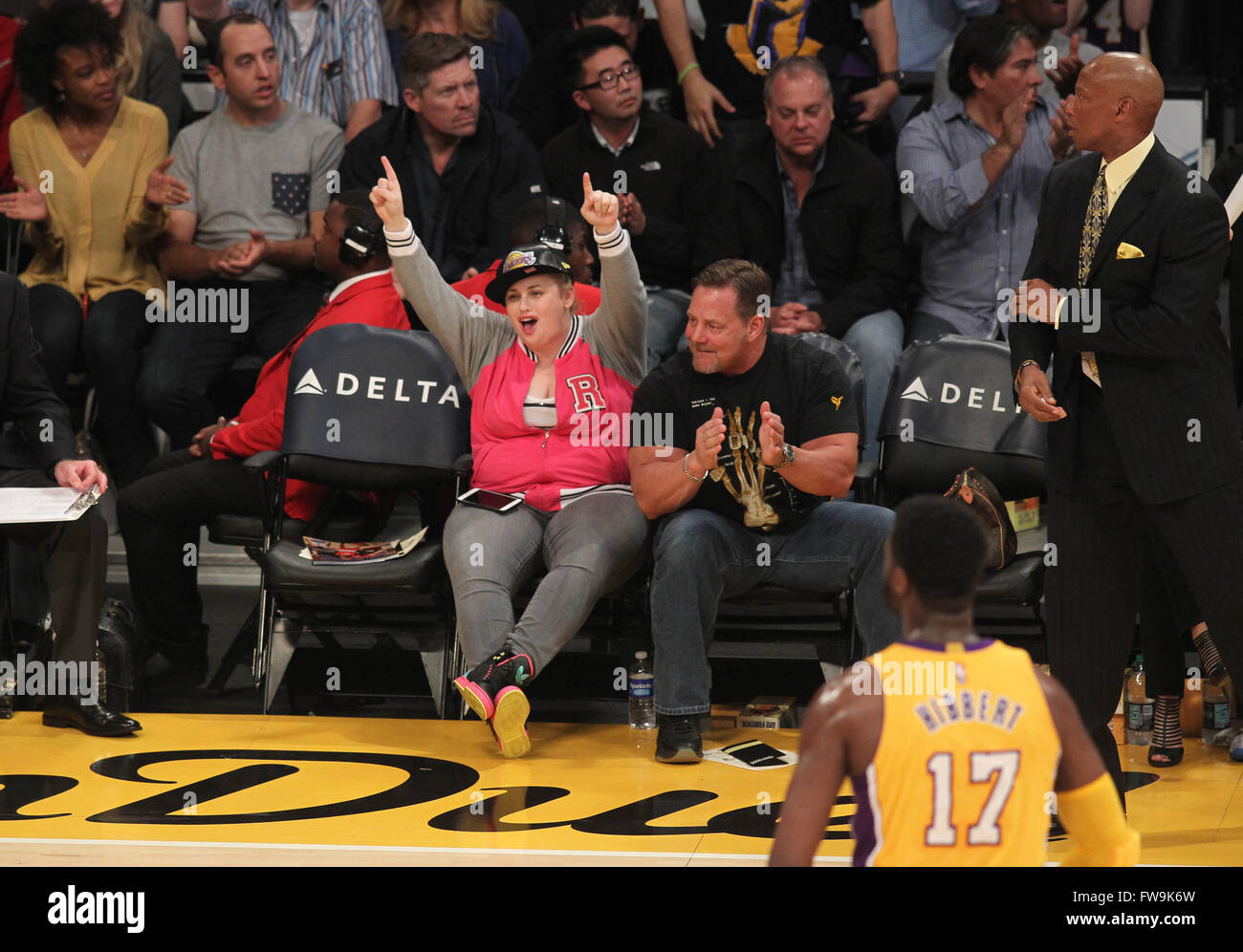 fc734aa04bd Celebrities watch the Los Angeles Lakers play against the Brooklyn Nets  Featuring: Rebel Wilson Where: Los Angeles, California, United States When:  01 Mar ...