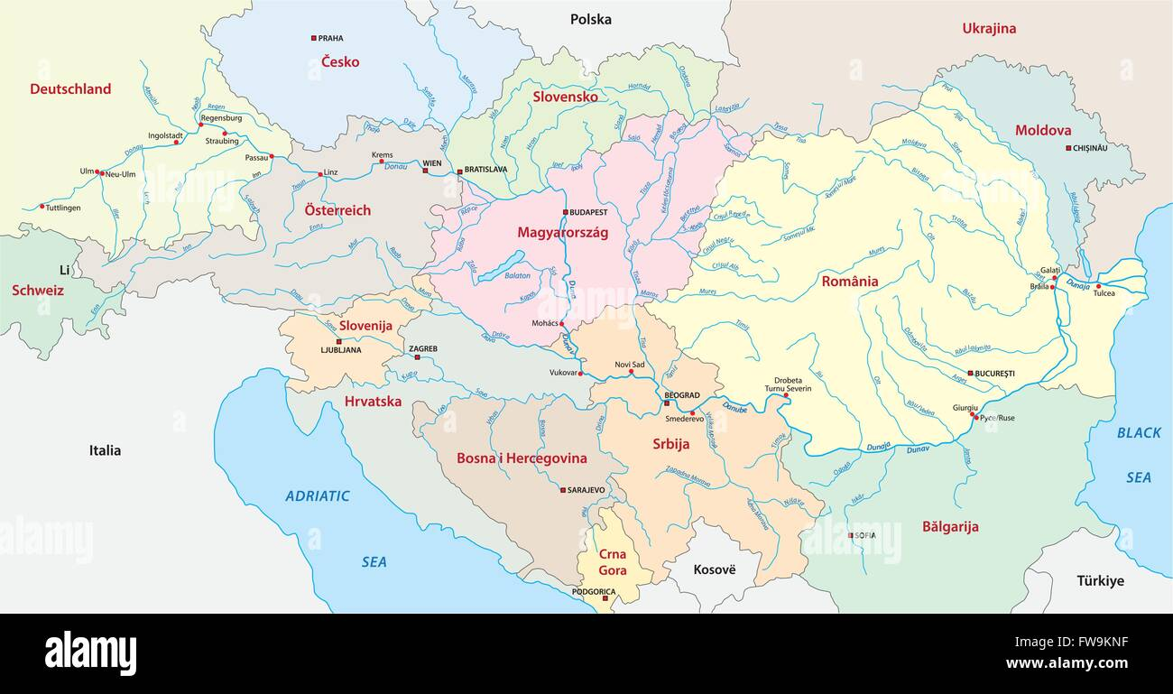 danube map - Stock Image