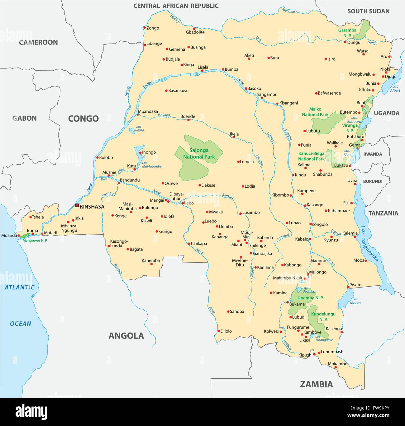 democratic republic of the congo map - Stock Image