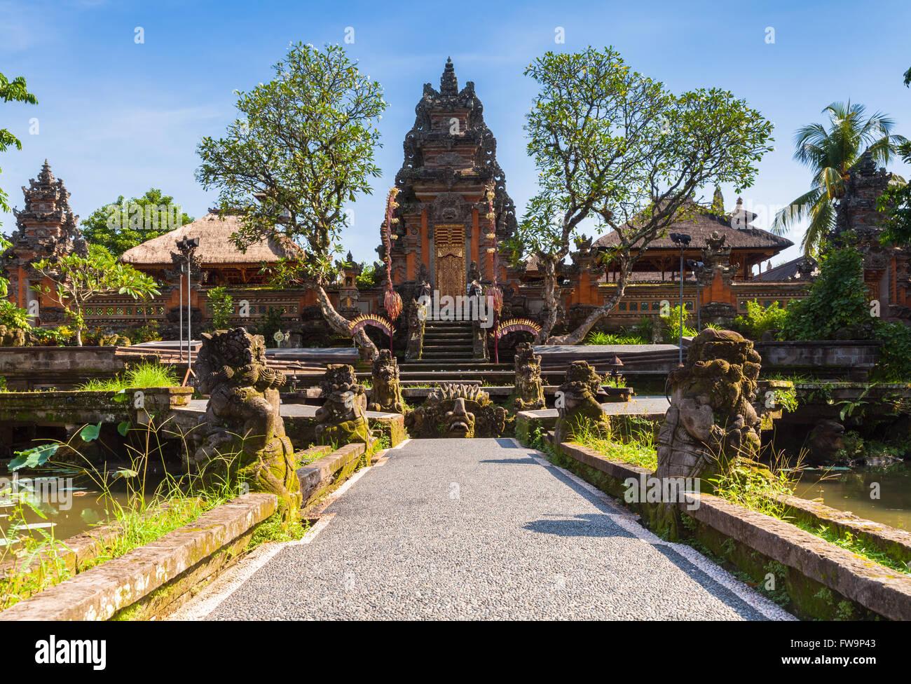 Pura Saraswati Temple with beatiful lotus pond, Ubud, Bali, Indonesia - Stock Image