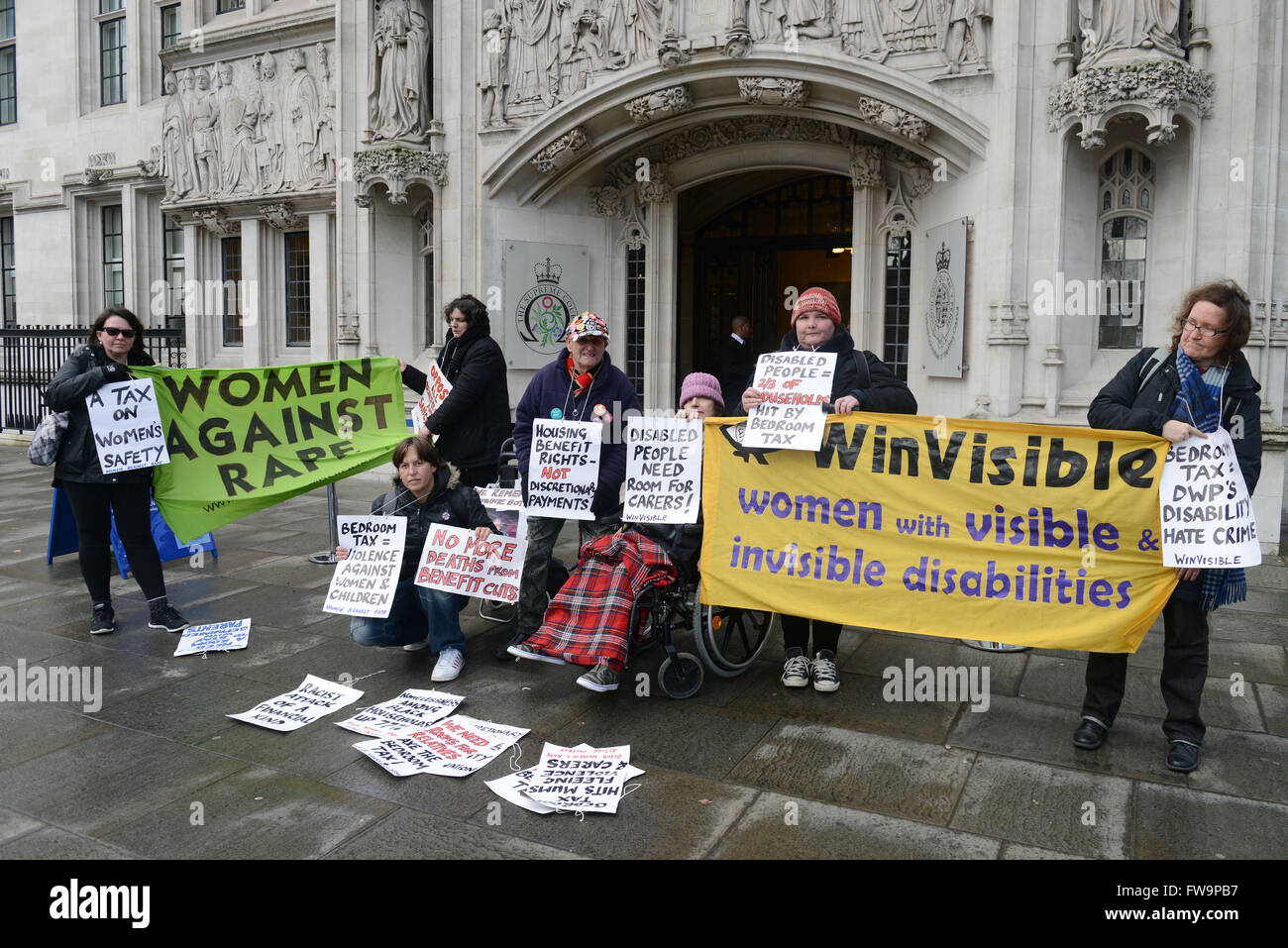 Campaign Groups Including Disabled People Against Cuts And Winvisible Gather At The Supreme Court As Judges Hear Appeal Claims That The Government S Spare Room Subsidy Discriminates Against Vulnerable People Featuring Campaigners Where