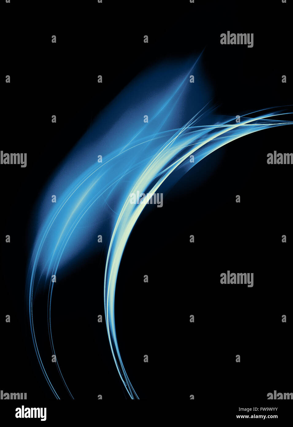 Abstract blue fire fractal ring on a black background - Stock Image