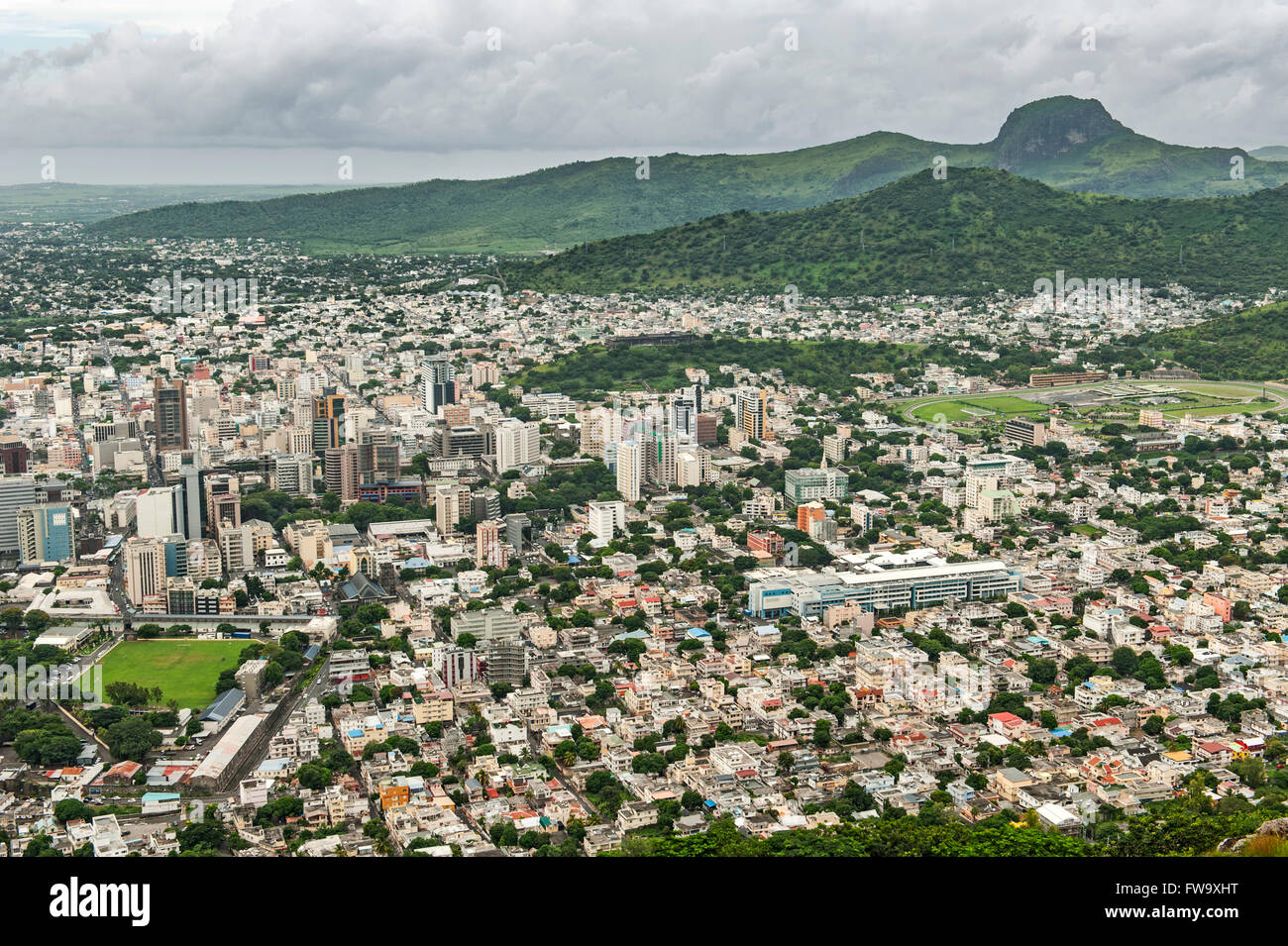 View across Port Louis, the capital of Mauritius. Stock Photo