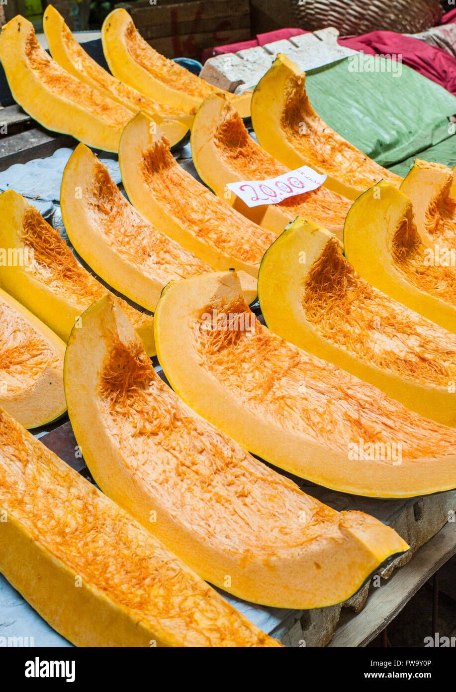 Pumpkin for sale at the market in Port Louis, the capital of Mauritius. Stock Photo