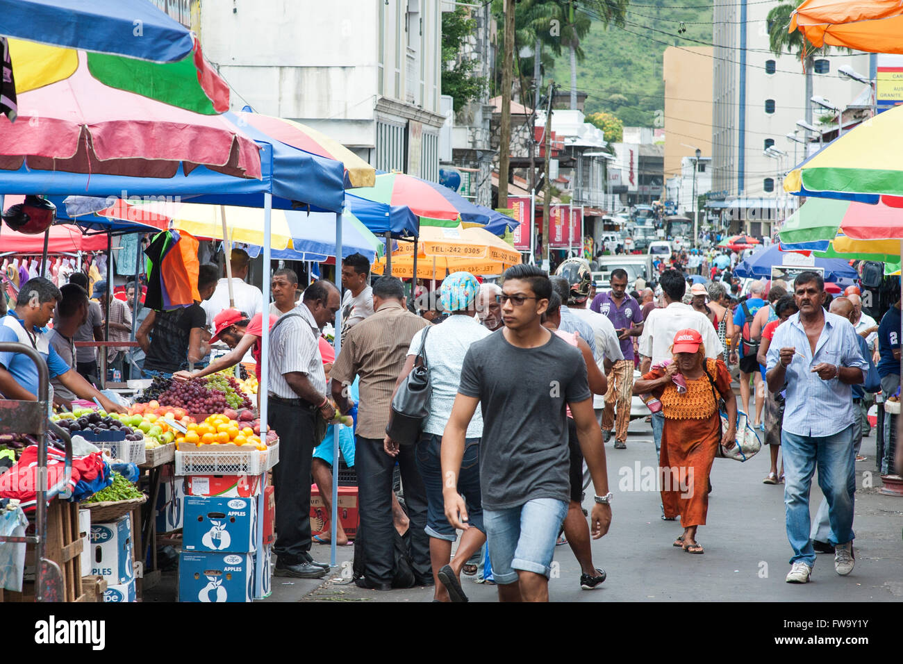 The port louis street market in mauritius stock photo 101637031 alamy - Mauritius market port louis ...