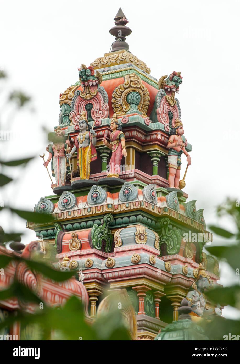 Hindu temple at Bel Air in Mauritius. - Stock Image
