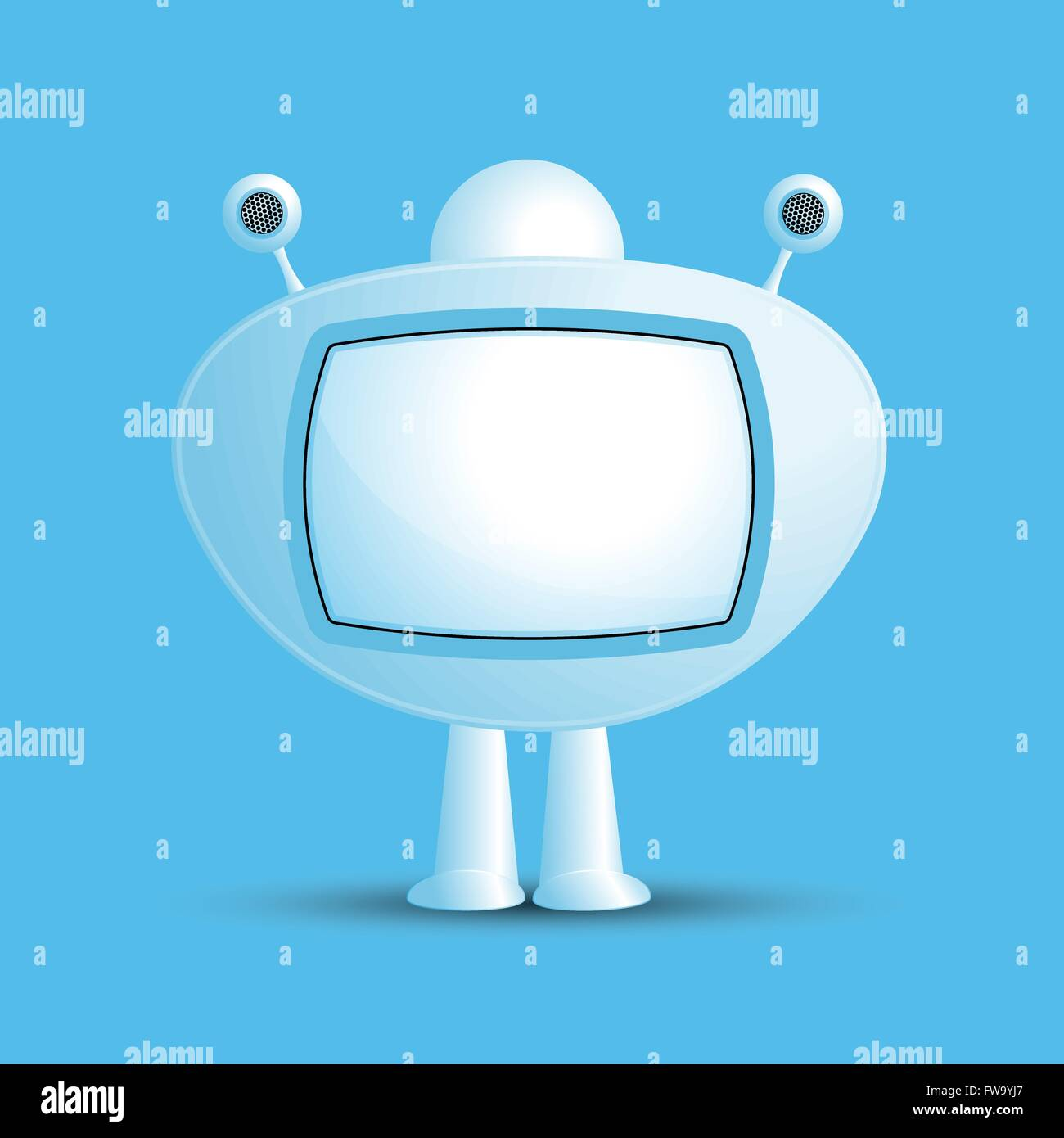 Speech bubbles robots television for text.  A vector illustration. Stock Vector