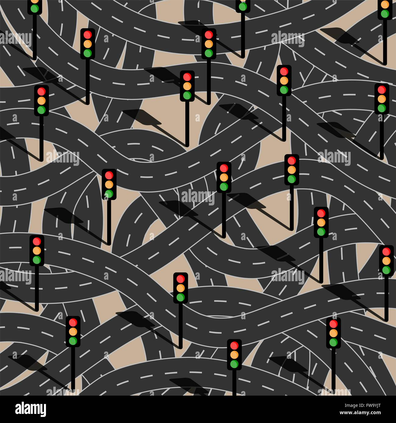 Route to chaos. Filled with traffic lights. - Stock Vector