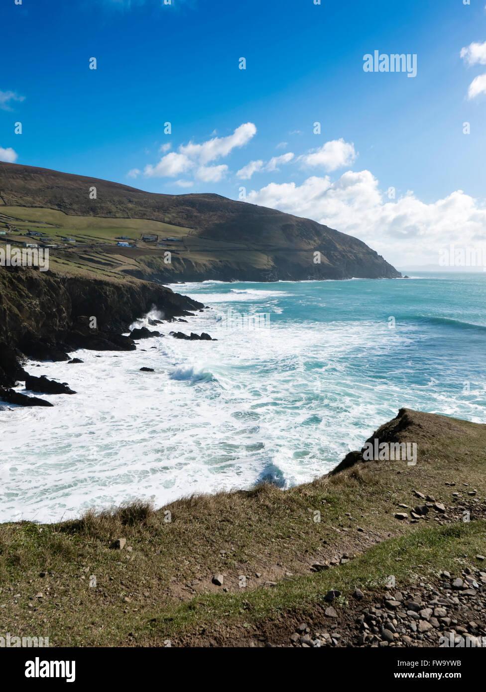 Crashing waves at Dunquin beach on the Slea Head Drive, Dingle Peninsula County Kerry, Republic of Ireland. Stock Photo
