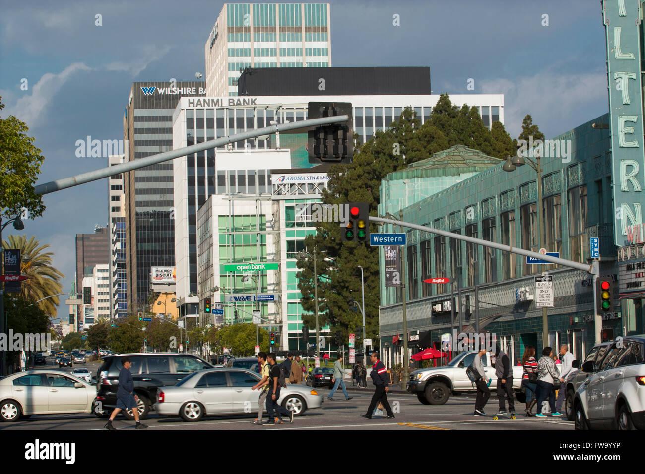 Wilshire boulevard in Los Angeles - Stock Image