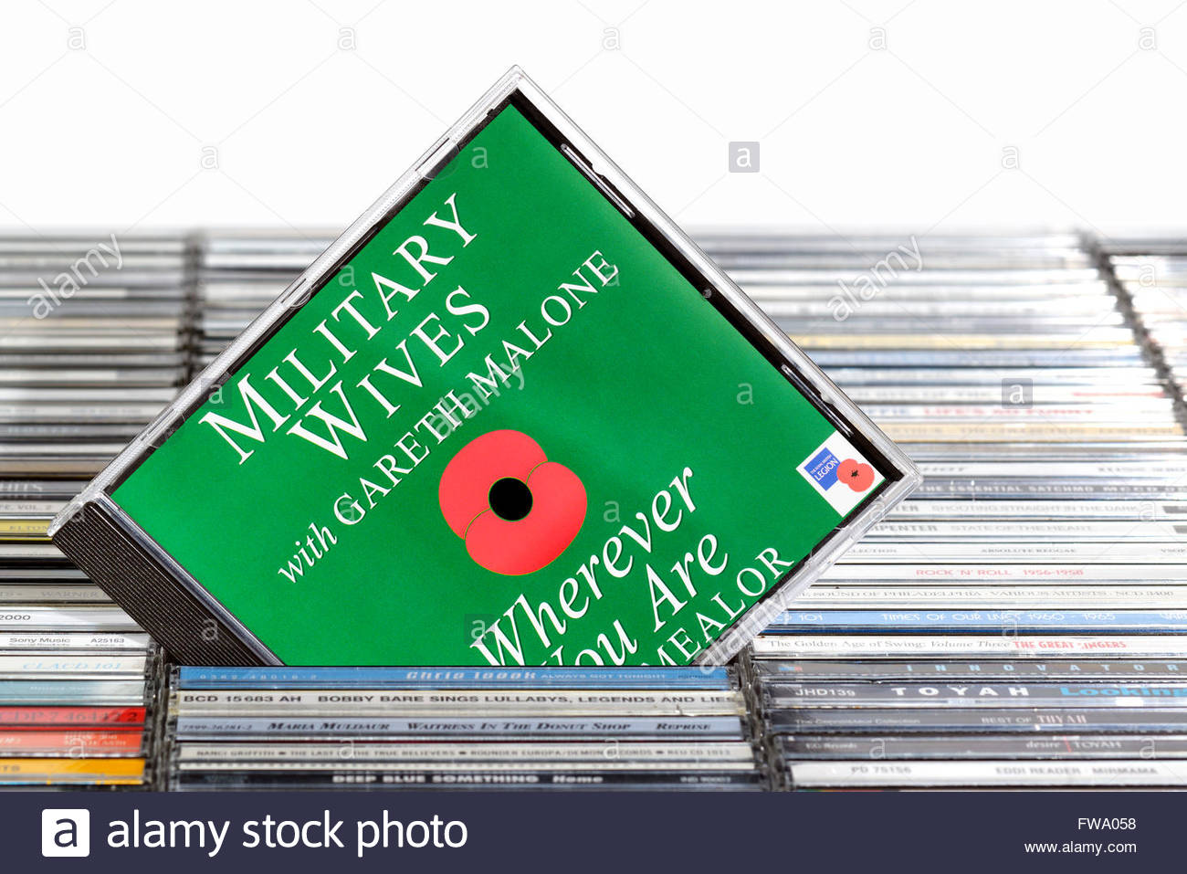 Military Wives 2011 single Wherever You Are, piled music CD cases, Dorset England - Stock Image