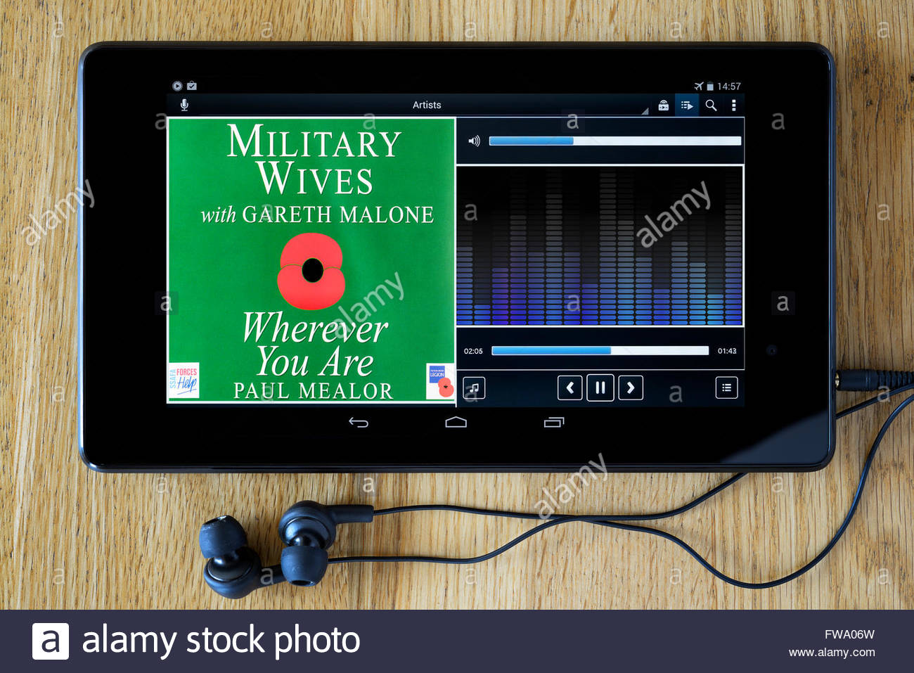 Military Wives 2011 single Wherever You Are, MP3 album art on PC tablet, England - Stock Image