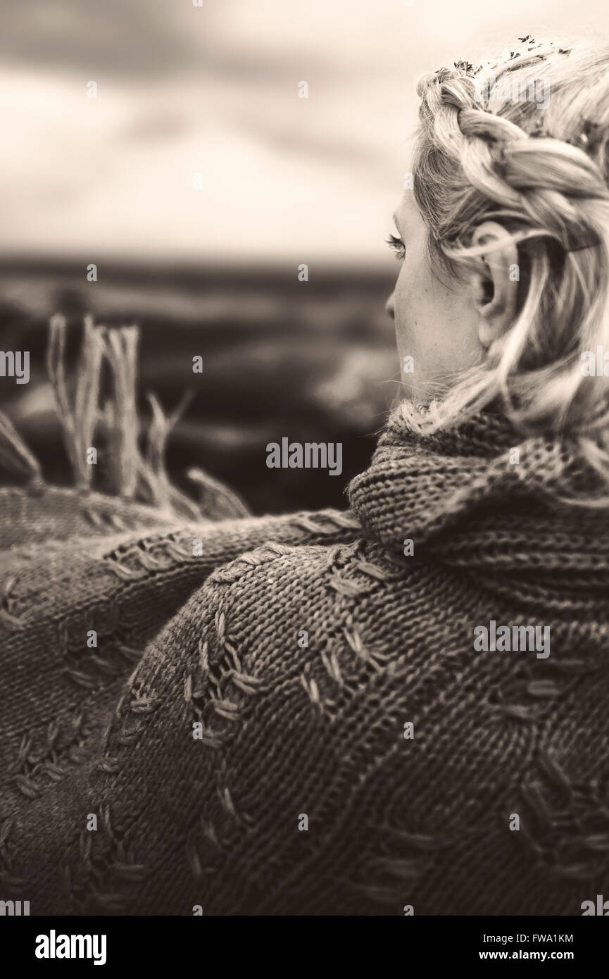 back portrait of the woman - Stock Image