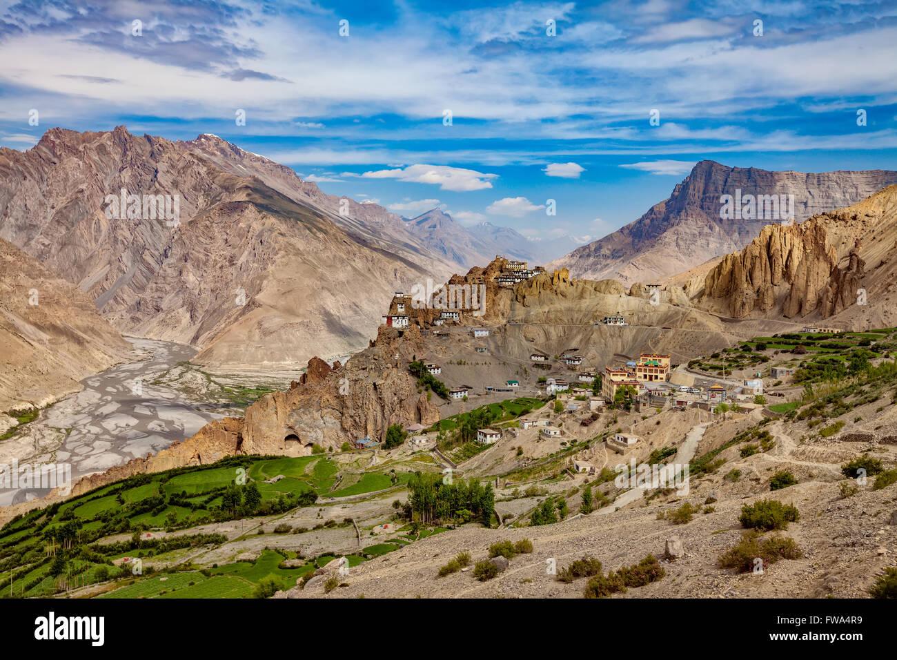 Dhankar gompa. Spiti Valley, Himachal Pradesh, India - Stock Image