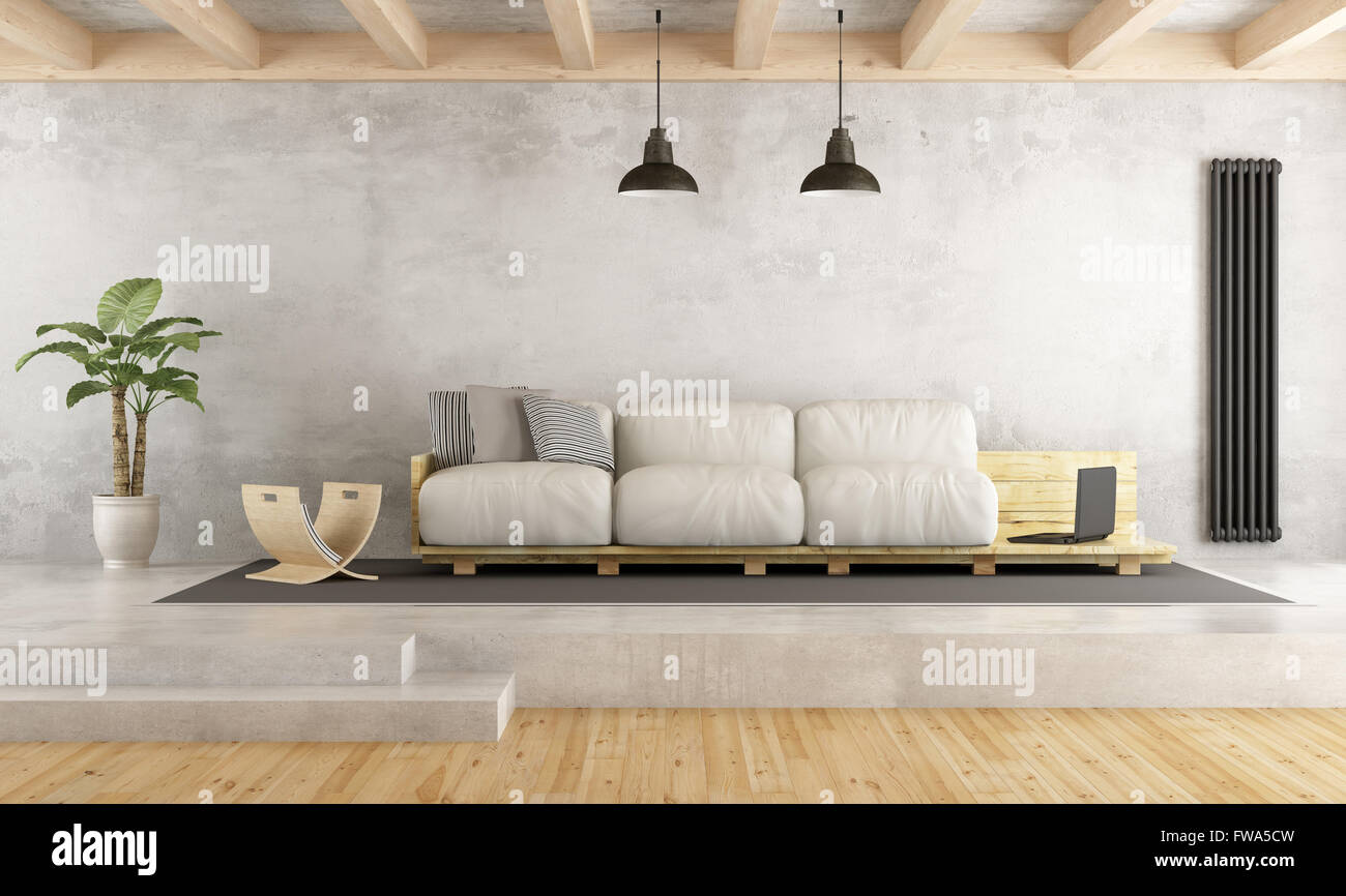 Contemporary living room with pallet sofa on cement platform - 3D ...