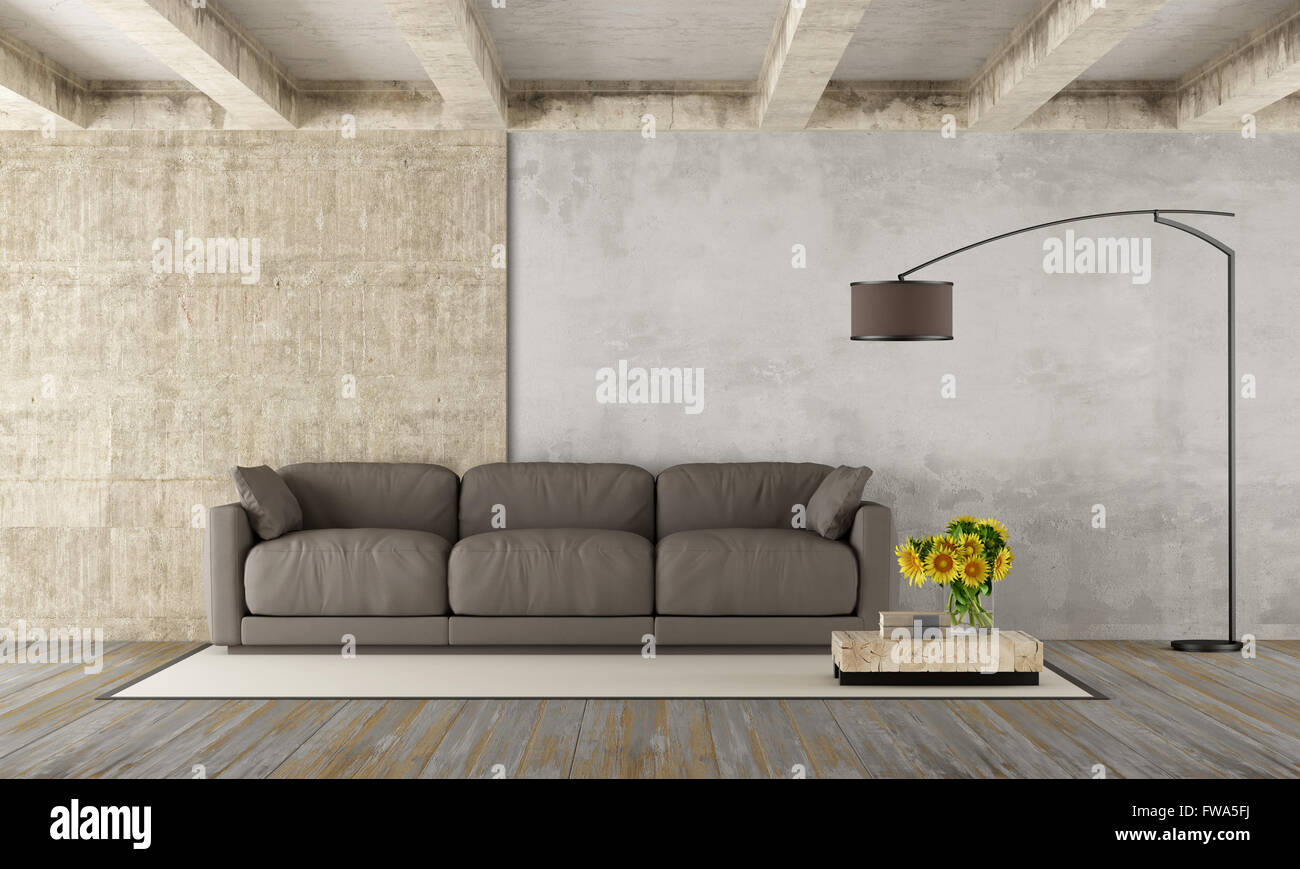 Grunge room with modern brown couch,concrete beams and dirty wooden ...