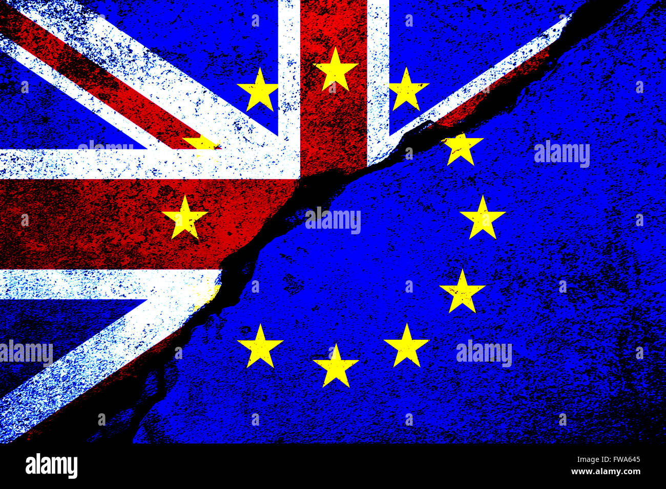 Brexit. Flags of the United Kingdom and the European Union to illustrate possible exit of Great Britain from the Stock Photo
