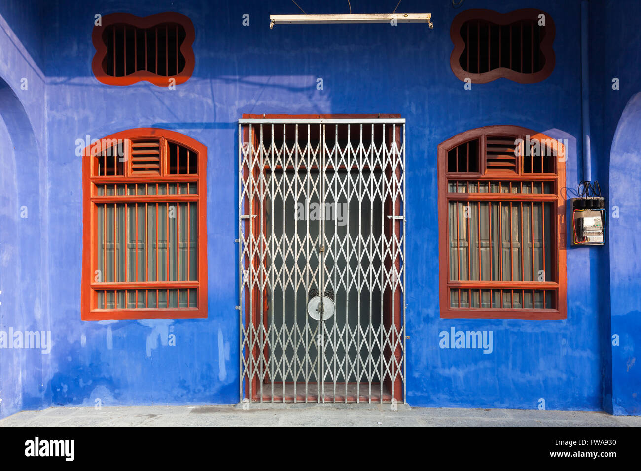 Facade of the old historial shophouse in George Town, Penang, Malaysia. - Stock Image