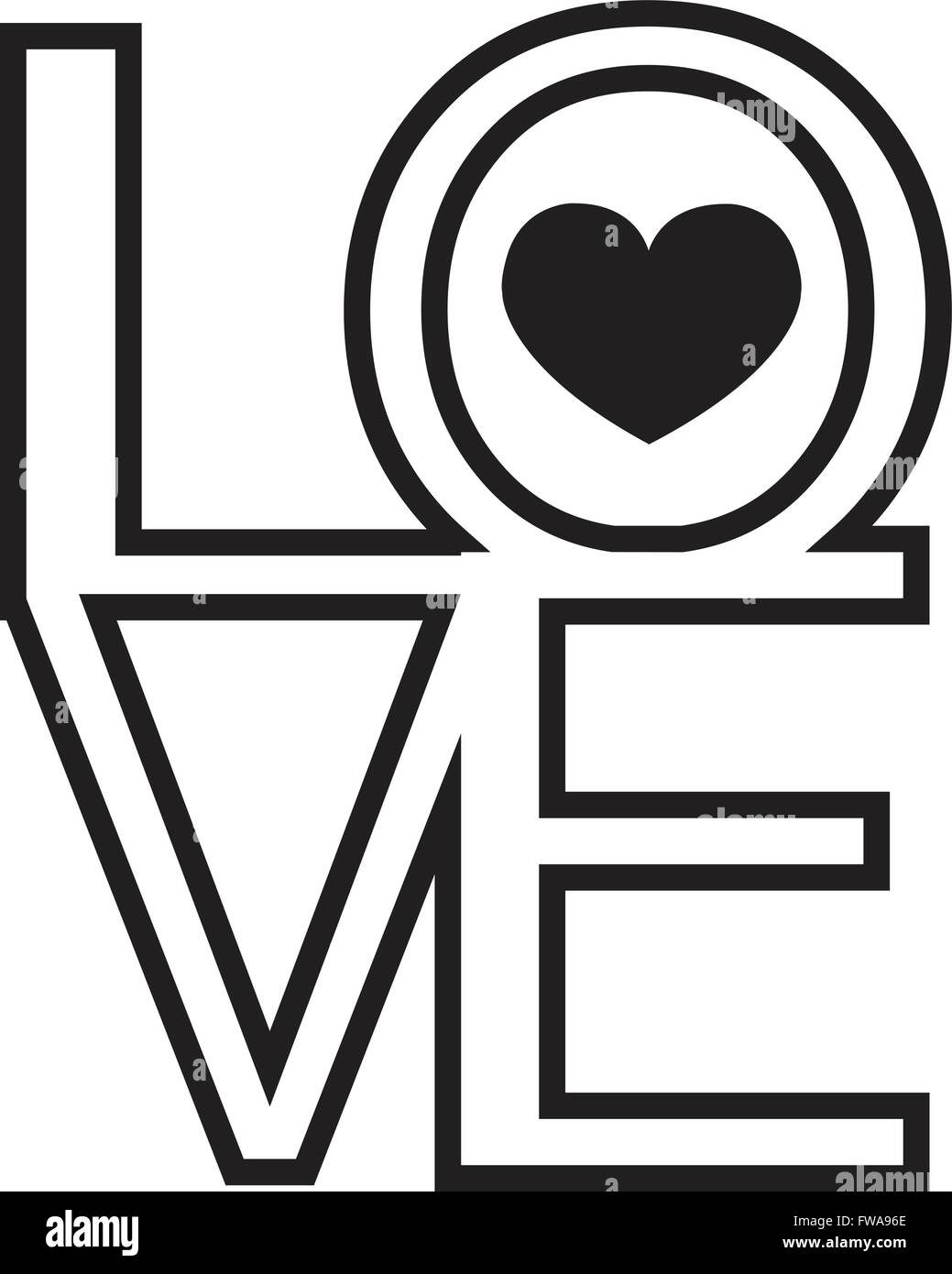 Font Type , LOVE Happy Valentines day - Stock Image