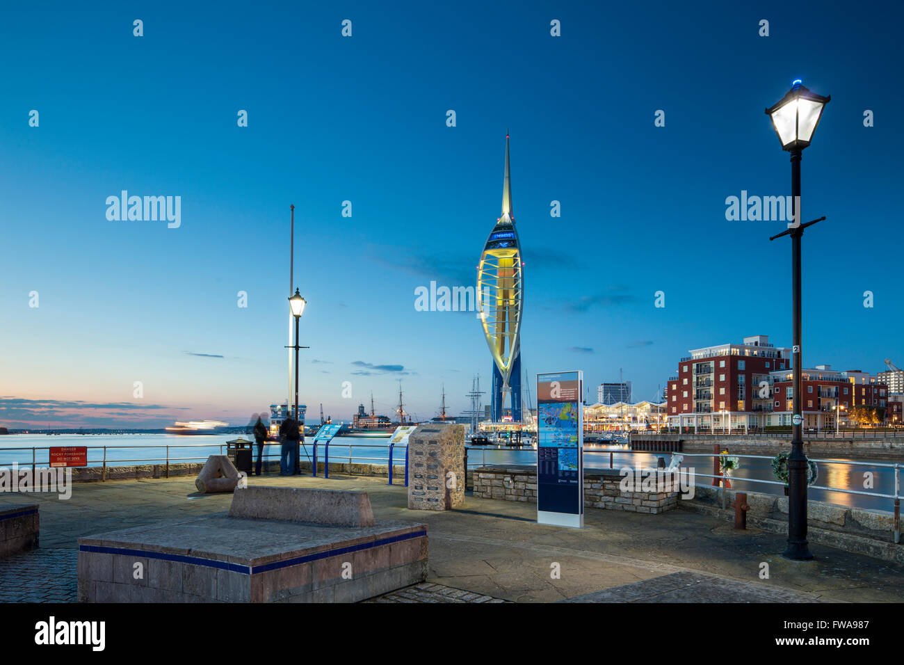 Night falls in Portsmouth Harbour, UK. Stock Photo