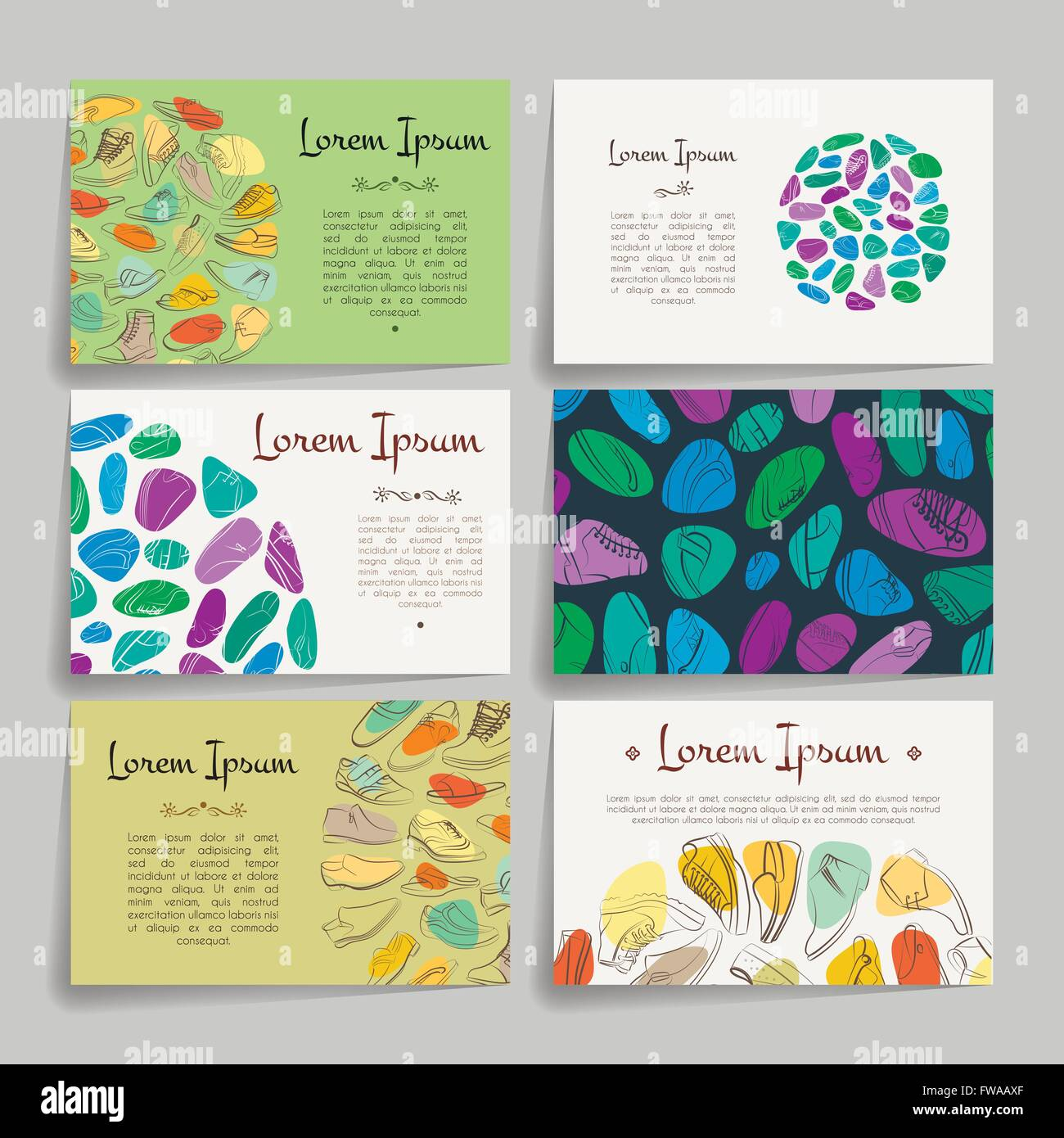 Set of vector design templates business card with shoes ornament set of vector design templates business card with shoes ornament cheaphphosting Image collections