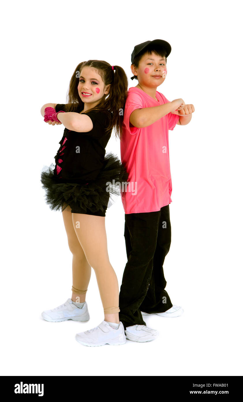 Pre Teen Kids in Hip Hop Duet with Recital Costume and Makeup Stock Photo