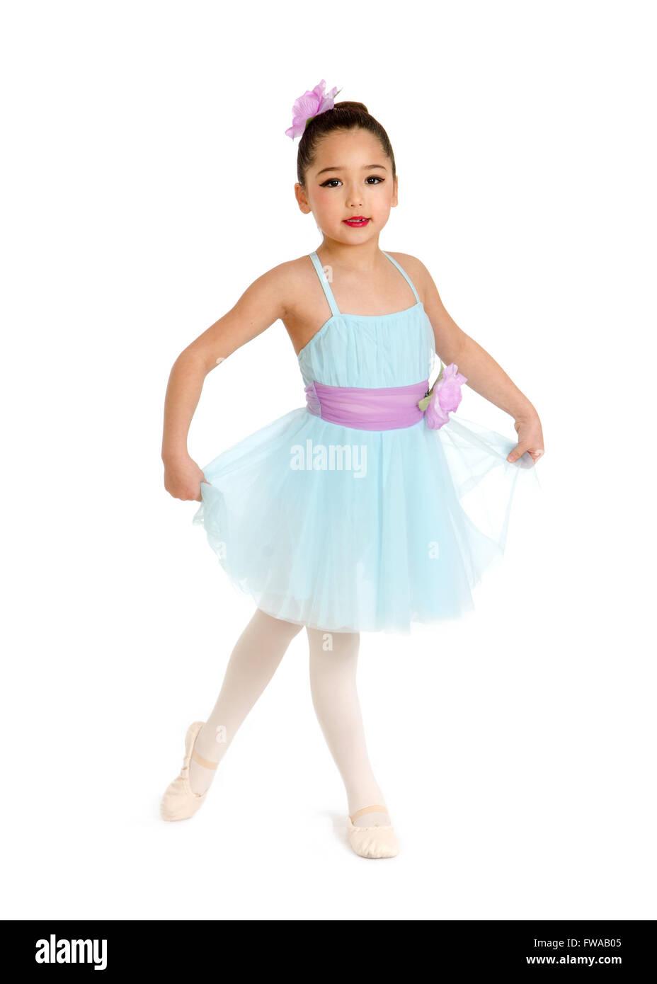 Child Ballet Dancer in pastel Recital Costume - Stock Image