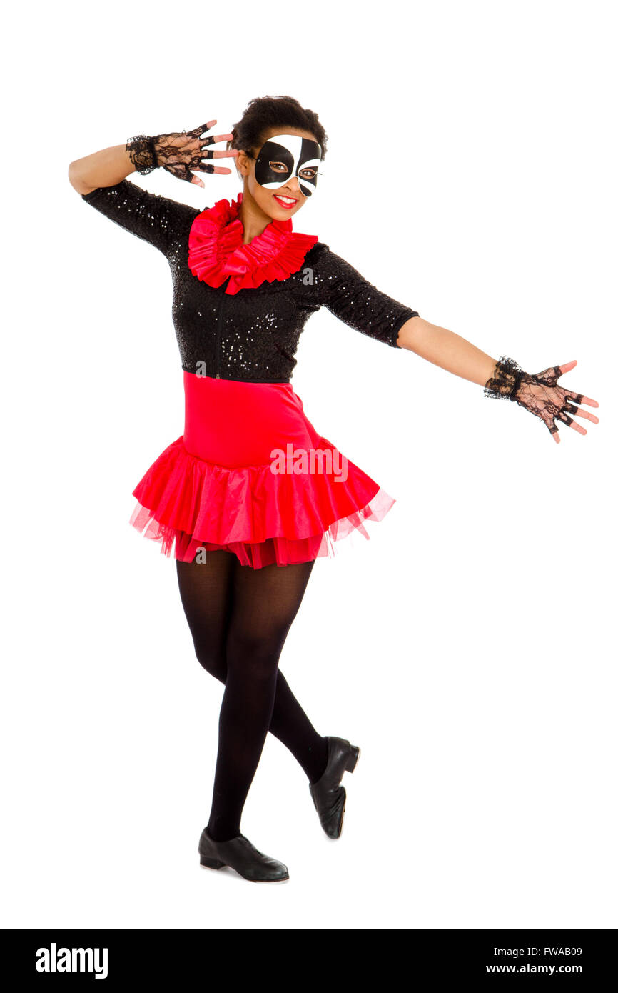 African American Teen Tap Dancer in Black and Red Recital Costume - Stock Image