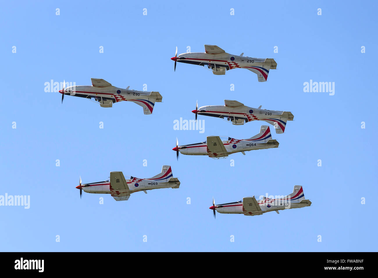 Croatian Air Force formation aerobatic display team 'Wings of Storm' flying their Pilatus PC-9M training aircraft. - Stock Image