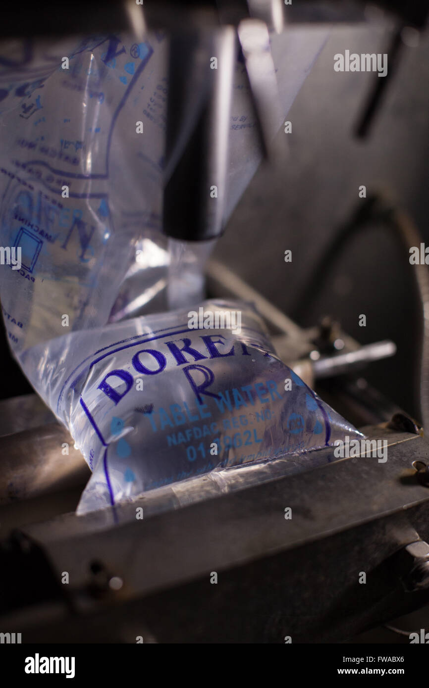 A sachet of purified drinking water produced in a Nigerian business, Africa. - Stock Image