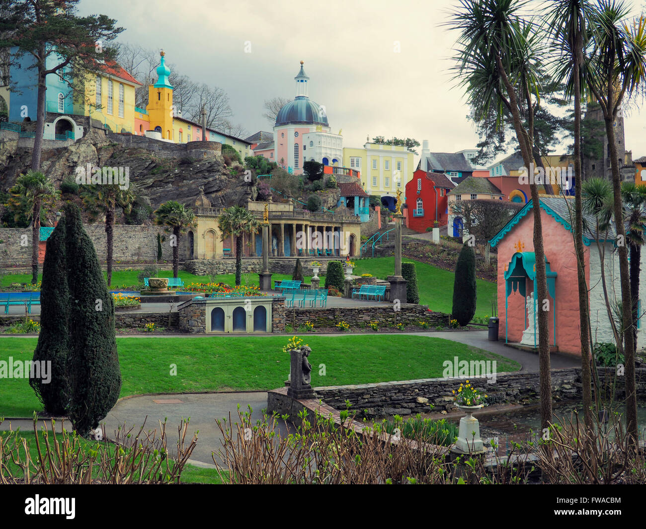 Photograph of the famous village of Portmeirion and its gardens in North Wales. Stock Photo
