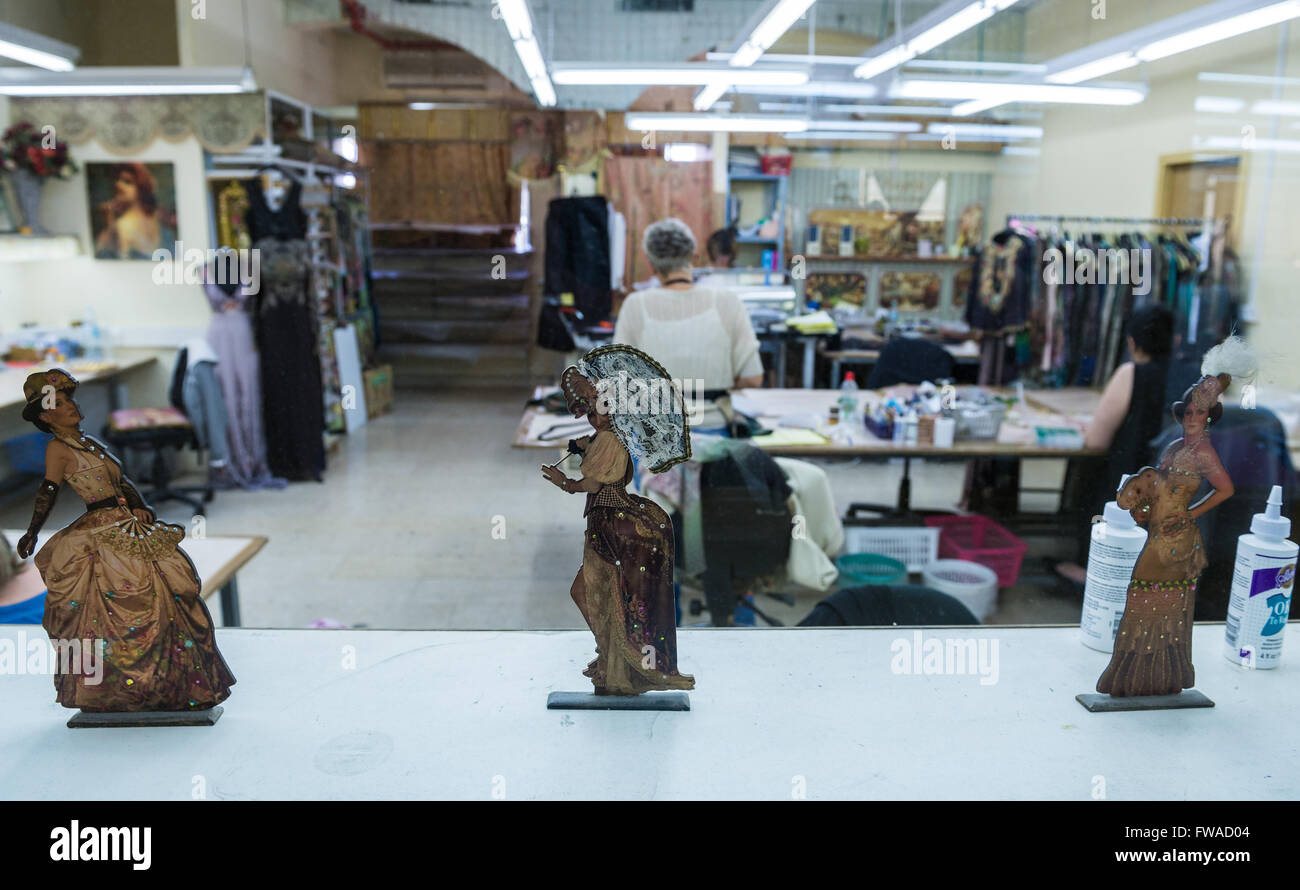 sewing room of factory in The World of Michal Negrin center in Bat Yam city, Israel - Stock Image