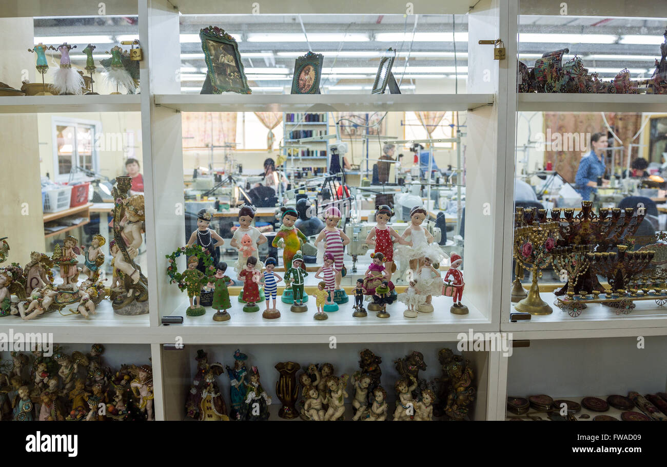 dolls in factory of The World of Michal Negrin center in Bat Yam city, Israel - Stock Image