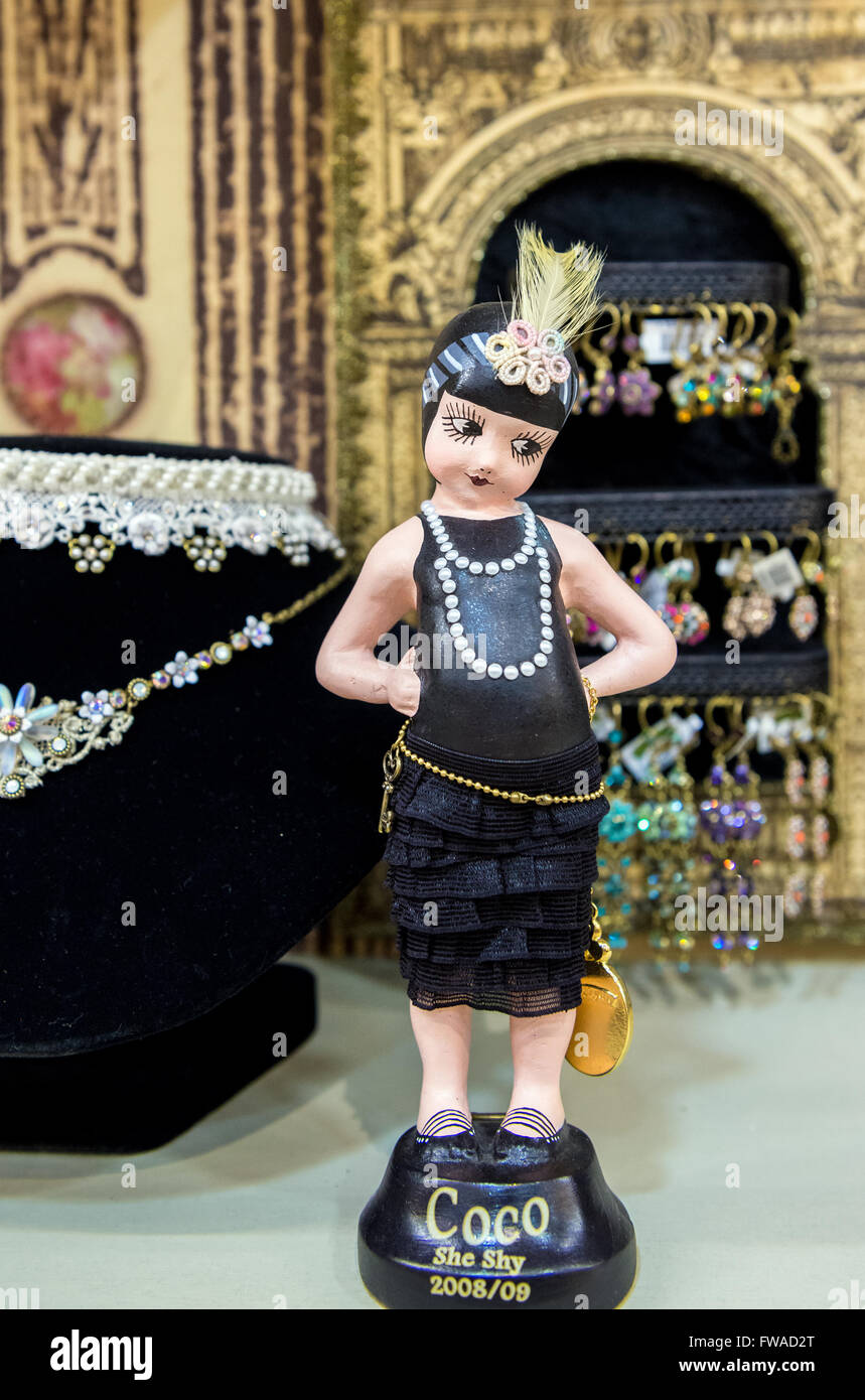 Coco Chanel doll in visitors center called The World of Michal Negrin in Bat Yam city, Israel - Stock Image