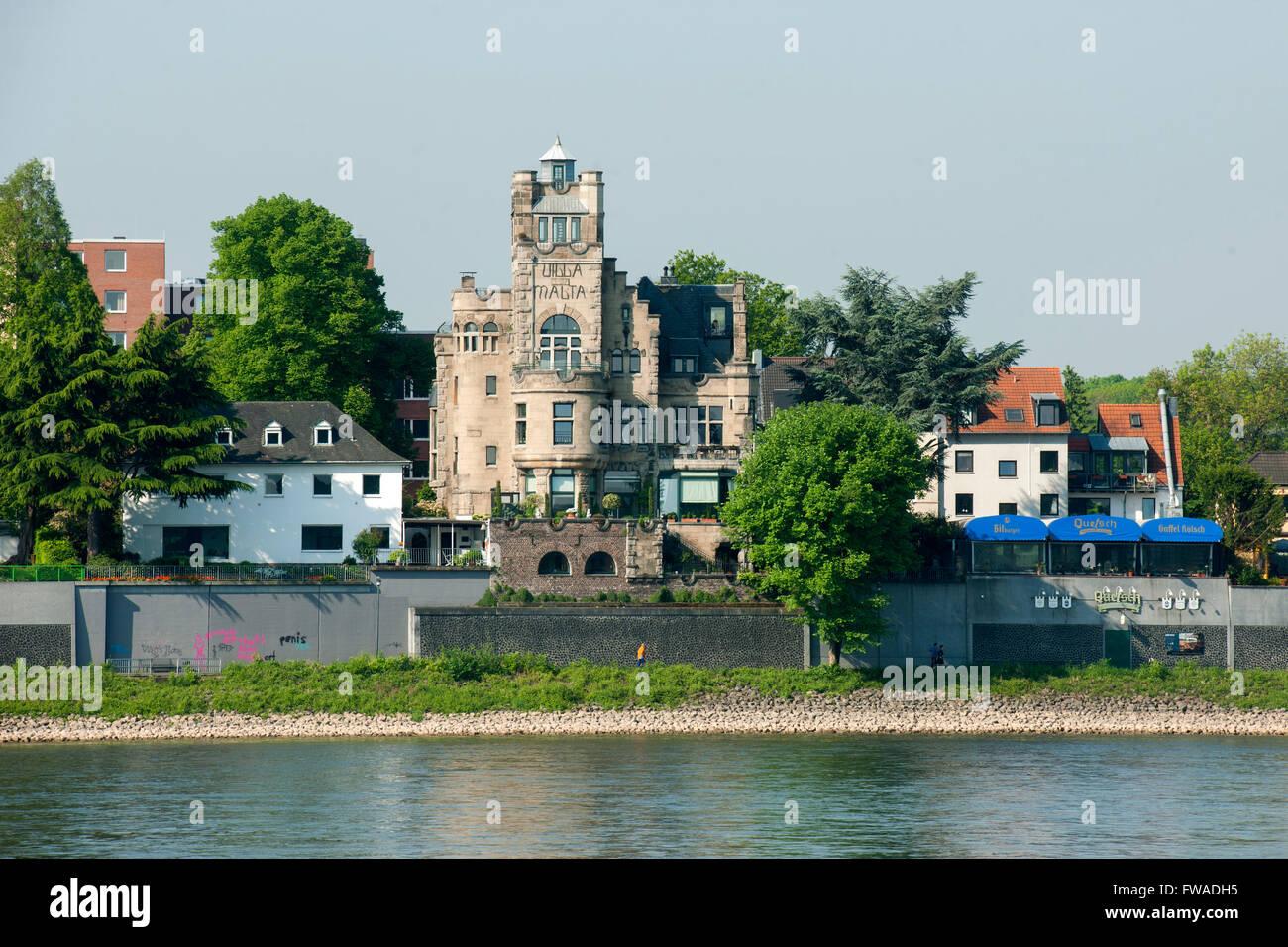 Deutschland, Nordrhein-Westfalen, Köln, Blick von Poll auf das andere Rheinufer nach Rodenkirchen - Stock Image