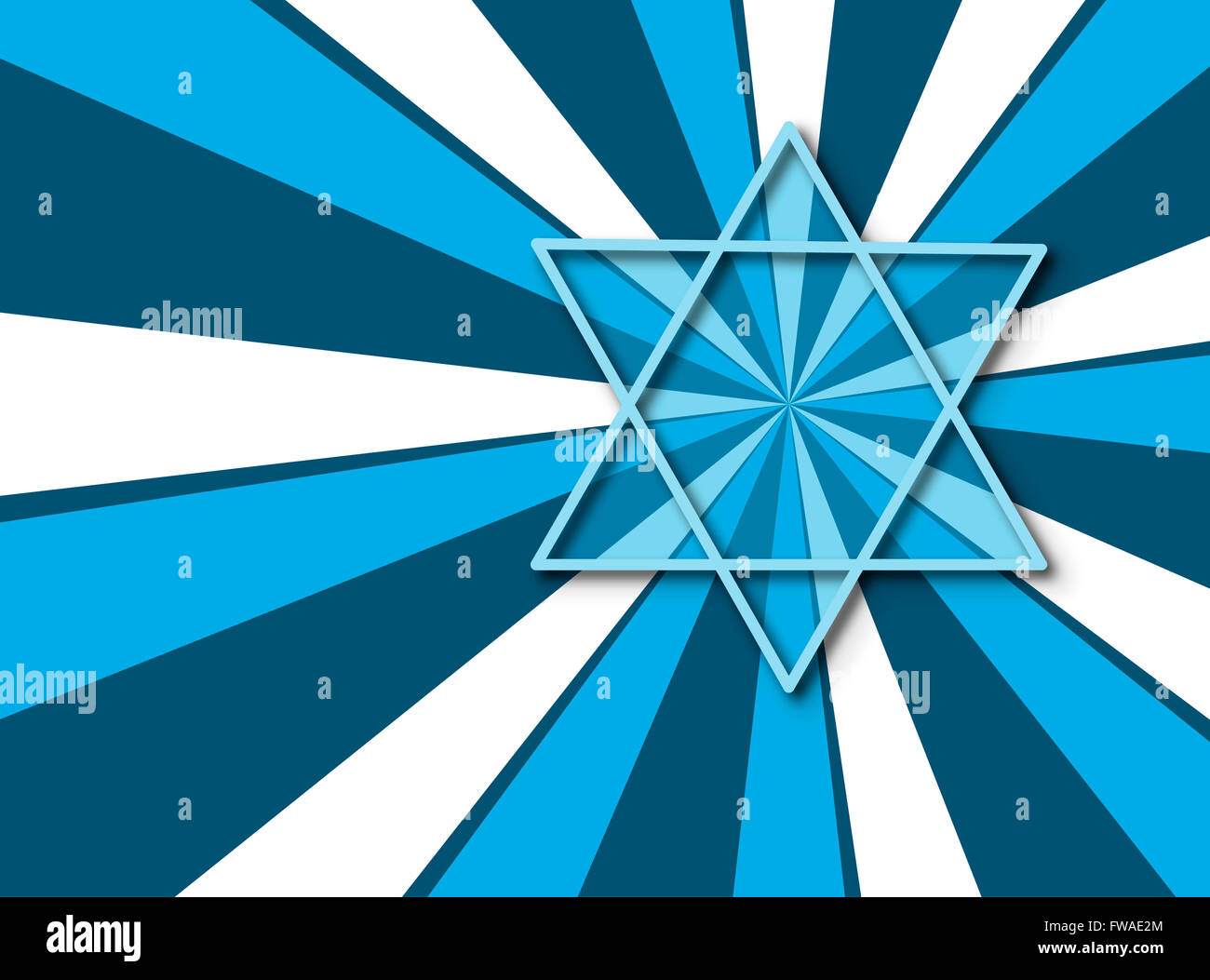 Abstract  Star of David  with colorful rays - Stock Image