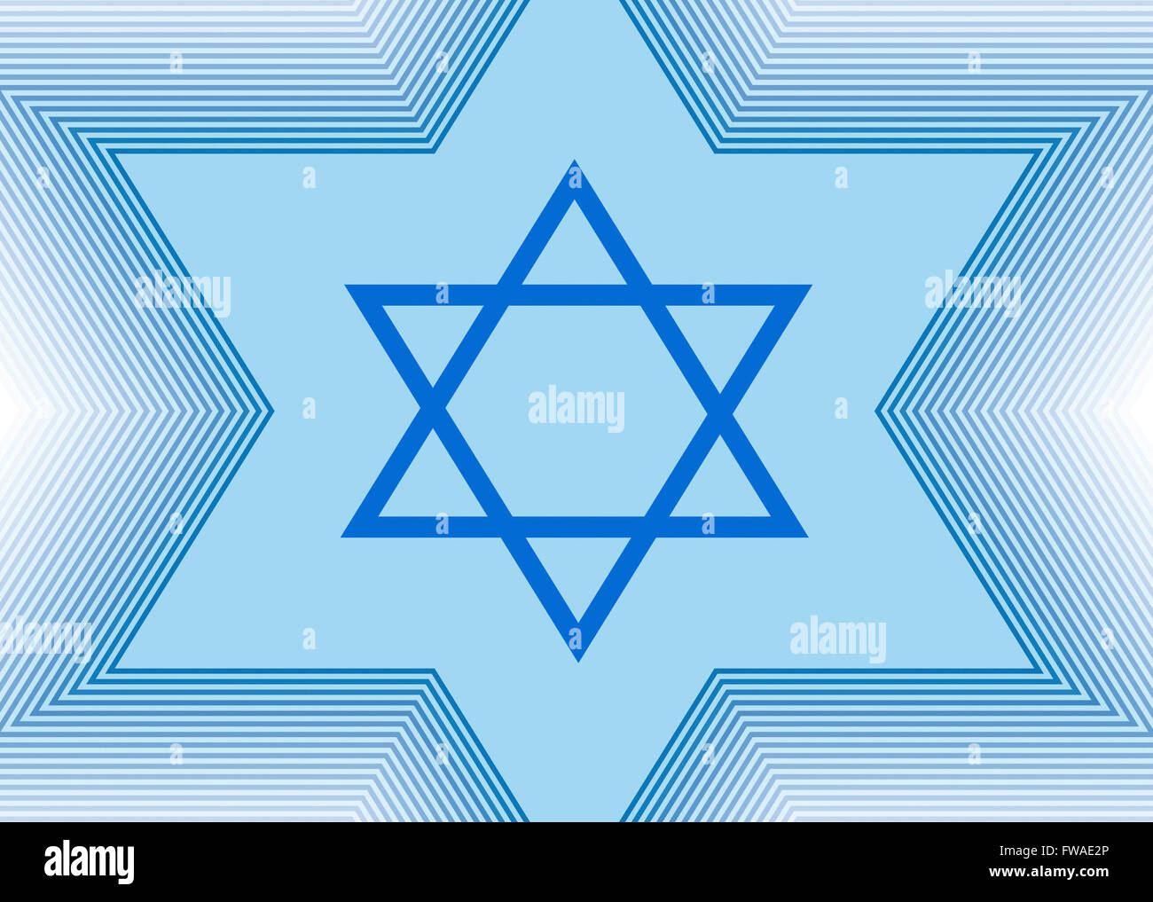 Abstract light blue background with the Star of David - Stock Image