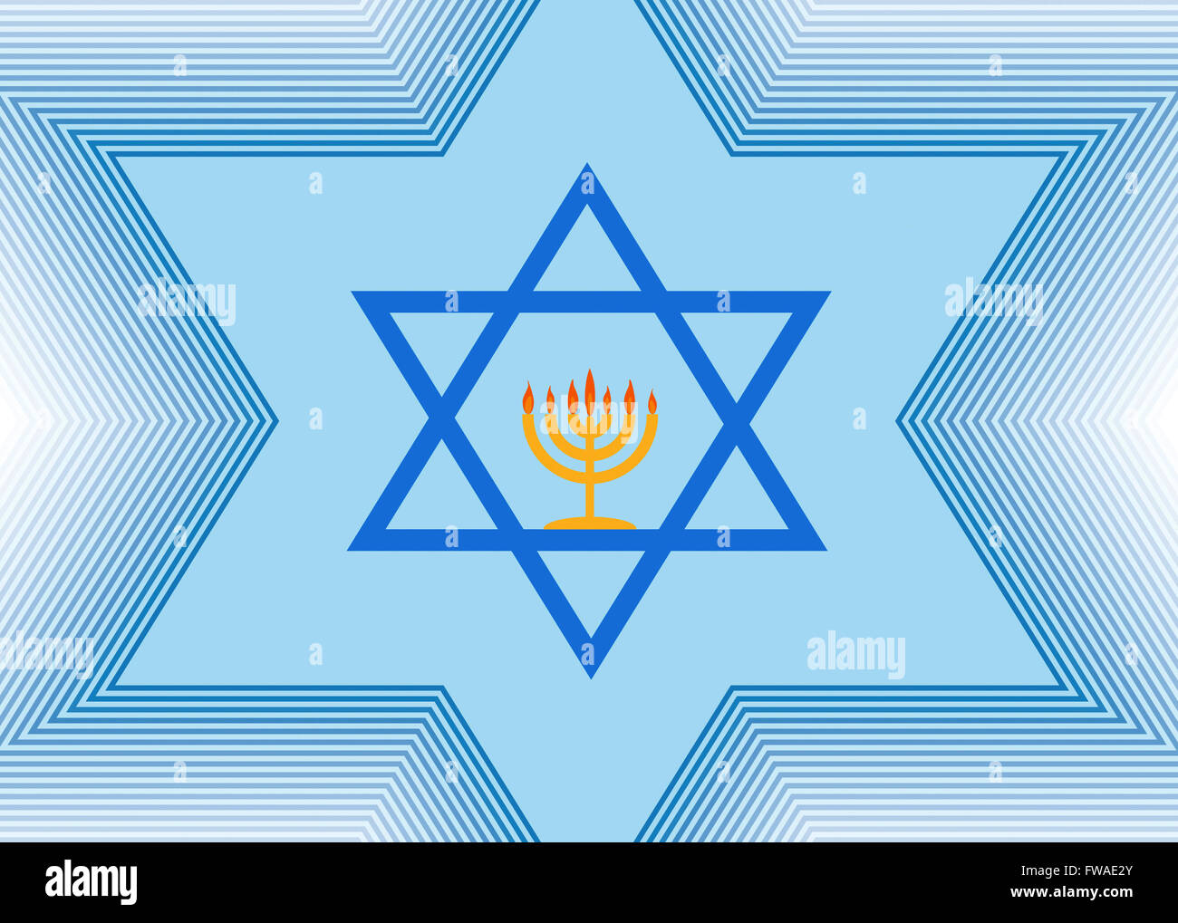 Abstract light blue background with the Star of David and Menorah - Stock Image