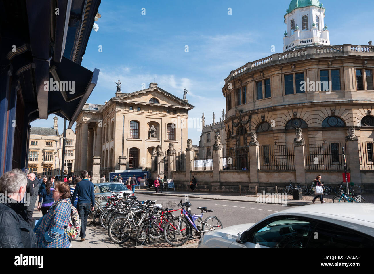 View of the Broad Street and the Bodleian Library (Clarendon Building), Oxford, United Kingdom - Stock Image